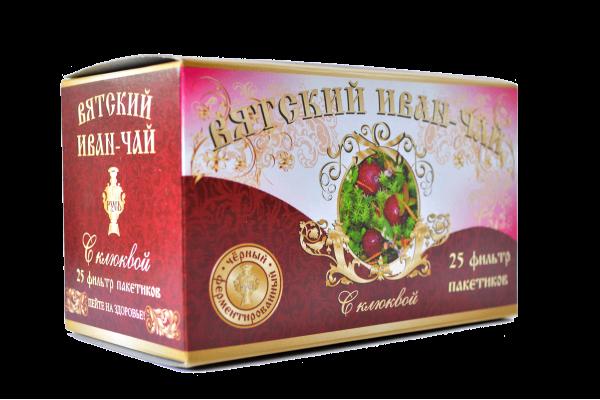 Вятский иван-чай с клюквой в пакетиках, 50 гр.