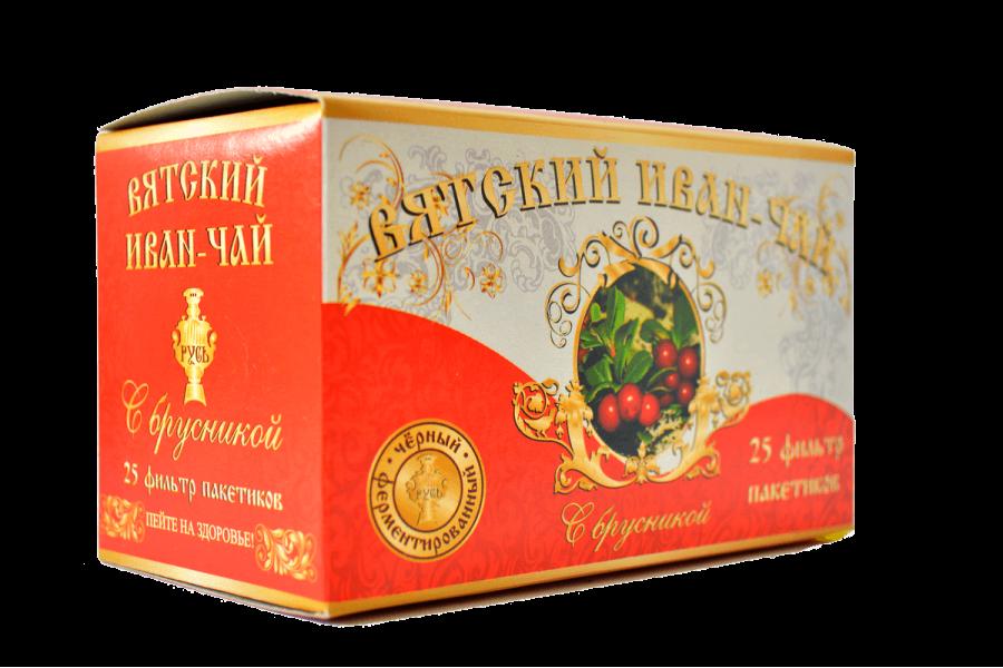 Вятский иван-чай с брусникой в пакетиках, 50 гр.